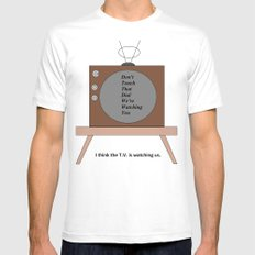 The T.V. is watching us MEDIUM Mens Fitted Tee White