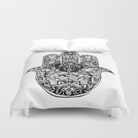 hamsa Duvet Covers featuring Hamsa by Cherry Virginia