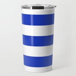 Persian blue - solid color - white stripes pattern Travel Mug
