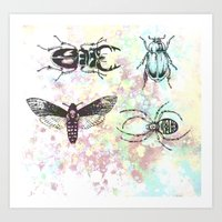 bugs Art Prints featuring Bugs! by Maria Enache