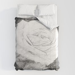 Pink Roses in Anzures 2 Charcoal Comforters