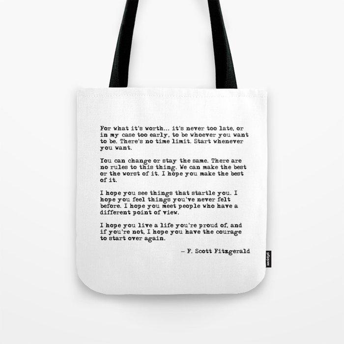 For what it's worth - F Scott Fitzgerald quote Umhängetasche