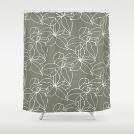 Leafy Leaves, Stacked, White on Earth Green Shower Curtain