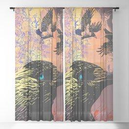 White Tara and Her Crows Sheer Curtain
