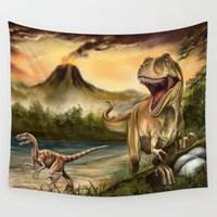 dinosaurs Wall Tapestries featuring Predator Dinosaurs by FantasyArtDesigns