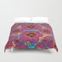 The Lost Pansy Flower Forest Duvet Cover