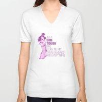 hercules V-neck T-shirts featuring im a big tough girl.. meg.. hercules by studiomarshallarts