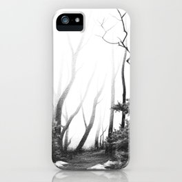 Graphite drawing landscape with fog, path and trees iPhone Case