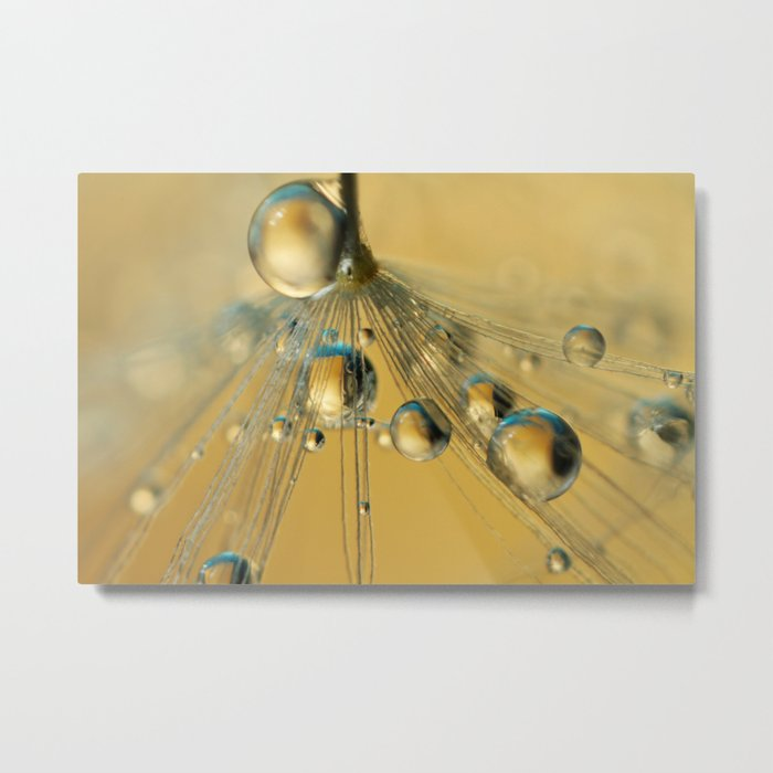 Golden Drops with a Hint of Blue Metal Print