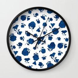 Medium Indigo Shadow Bloom Wall Clock