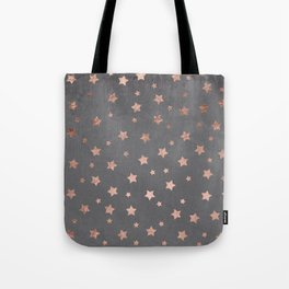 Rose gold Christmas stars geometric pattern grey graphite industrial cement concrete Tote Bag