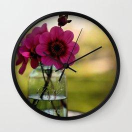Dahlias In A Blue Jar Wall Clock