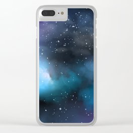 Navy Blue & Purple Glitter Cosmo Watercolor Galaxy Painting Clear iPhone Case