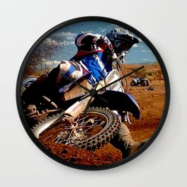 Motocross Dirt Track Motorcycle Racing Print Wall Clock