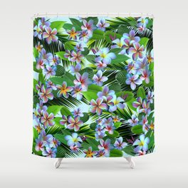 Rainbow Plumeria with Palm Fronds Shower Curtain