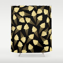 Faux Gold Leaf  Ice Cream Cones on Black Shower Curtain