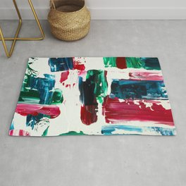 Jingle all the way green blue red white acrylic abstract brushstrokes christmas pattern Rug