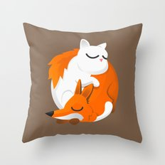 Fox and cat Throw Pillow