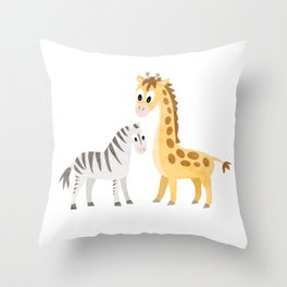 Safari Baby Zebra and Giraffe Throw Pillow