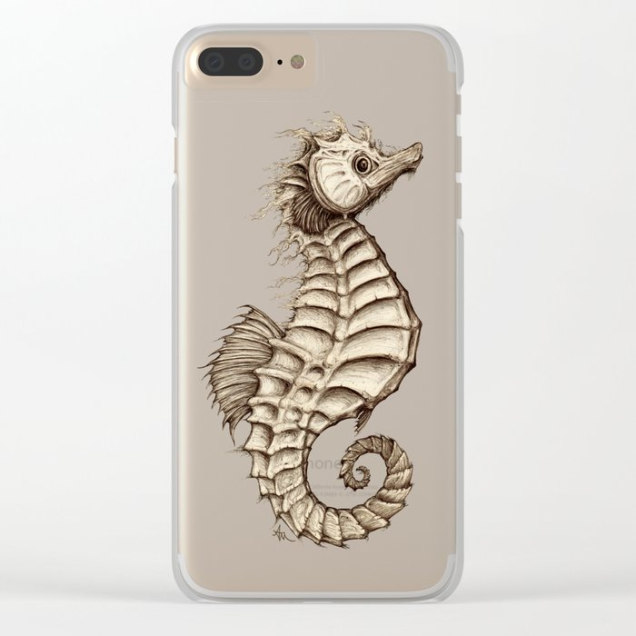 """""""Fantasy Seahorse"""" by Amber Marine ~ (Vintage) ~ Ink Illustration, (Copyright 2016) Clear iPhone Case"""