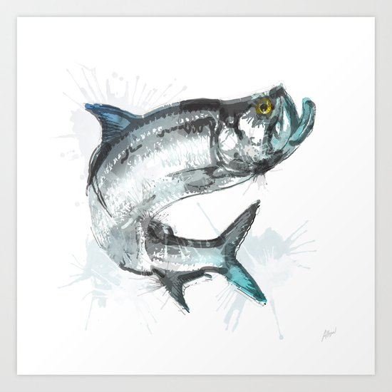 tarpon fish art print by allison reich society6