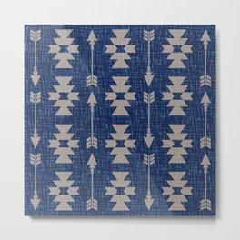Southwestern Arrow Pattern 237 indigo and Beige Metal Print