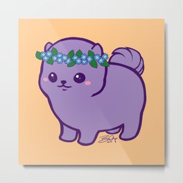 Baby Pom Has Forget Me Nots Metal Print