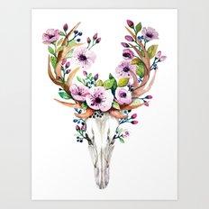 Boho watercolour skull with purple flowers crown Art Print