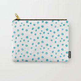 Small Blue Watercolor Abstract Polka Dots Carry-All Pouch