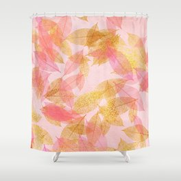 Autumn - world - gold leaves on pink Shower Curtain