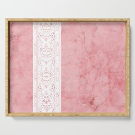 Delicate White Stripe Butterfly Pattern Pink Texure Design Serving Tray