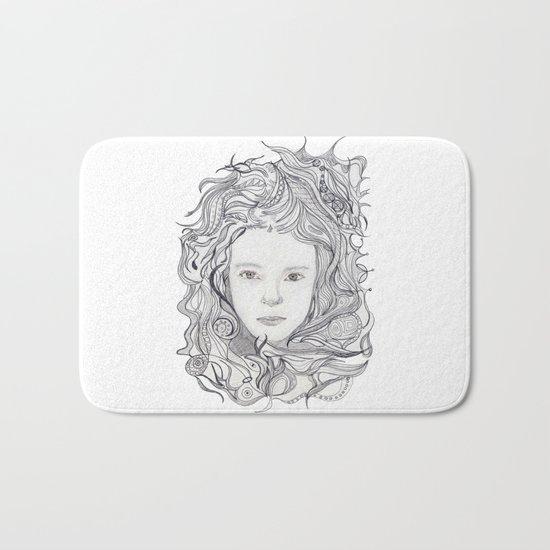 girl - curly doodle hair Bath Mat