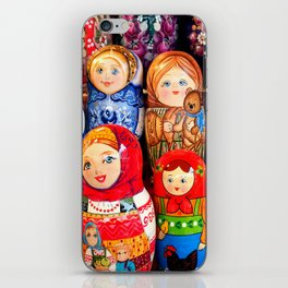 Culture. Group of matrioska, or babushka, symbol of maternity from Russia. iPhone Skin