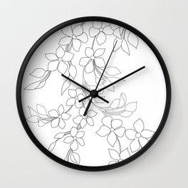 Minimal Wild Roses Line Art Wall Clock
