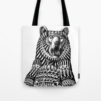 bioworkz Tote Bags featuring Ornate Grizzly Bear by BIOWORKZ