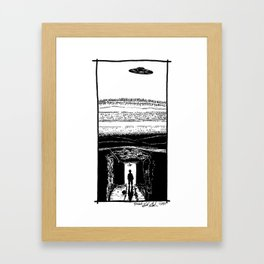 UFO Hovers High Above Underground Mining Tunnels - BNW Framed Art Print