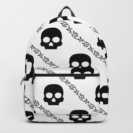 Skulls & Flowers - White V2 Backpack