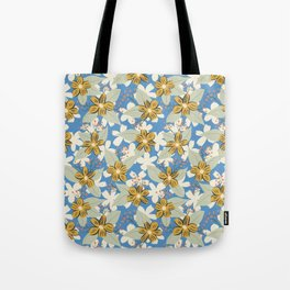 Seventies Floral in Blue and Mustard Yellow Tote Bag