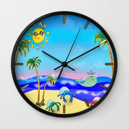 Beach Party for the Baby Crabs Wall Clock