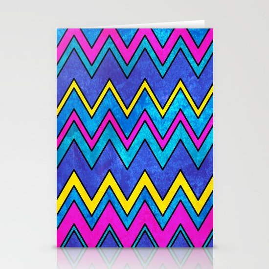 Neon Wave Stationery Cards