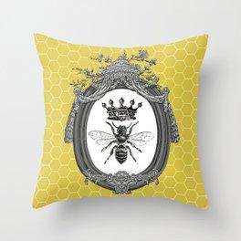 Queen Bee   Vintage Bee with Crown   Honeycomb   Throw Pillow
