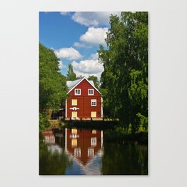 house on the river in Sweden Canvas Print