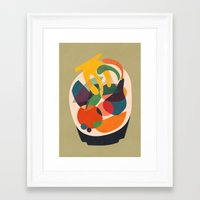 wooden Framed Art Prints featuring Fruits in wooden bowl by Picomodi
