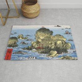 Hiroshige, Futamigaura in Ise Province Rug