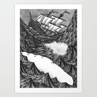 moby Art Prints featuring Moby Dick by GRZNYC