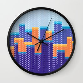 Geometric Retro Winter Vibes Abstraction Of A City Wall Clock