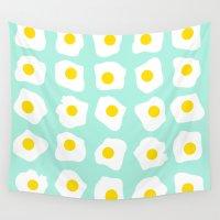 eggs Wall Tapestries featuring Eggs Eggs Eggs by ANNIKA THORN