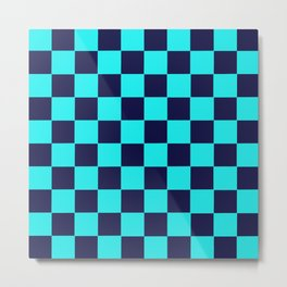 Checkers Navy Turquoise Metal Print