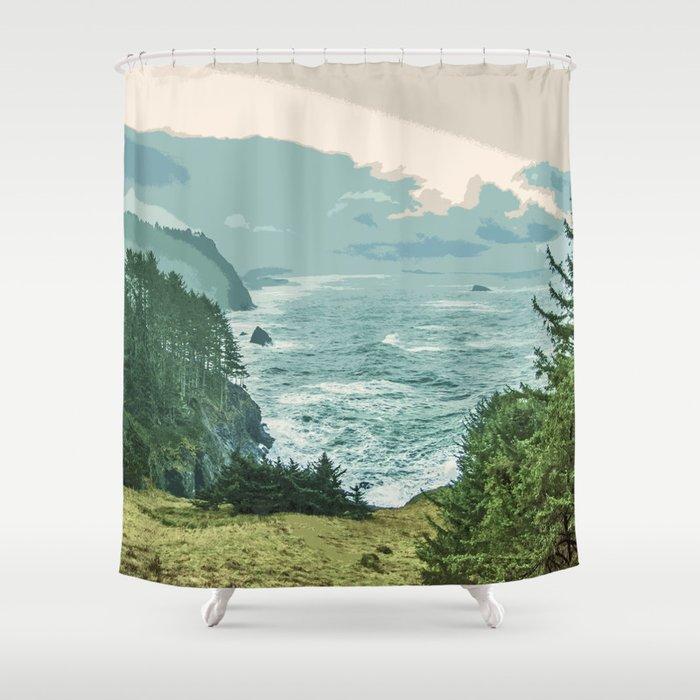 Oregon Coast Sunrise in Simplified Color Shower Curtain