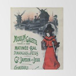 Moulin De La Galette 1896 Paris Throw Blanket